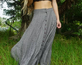 90s vintage grunge maxi skirt