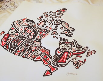 CANVAS of 'Our Home and Native Land' unwrapped, various sizes, Pacific Northwest Coast style art map of Canada, Canadian Artist