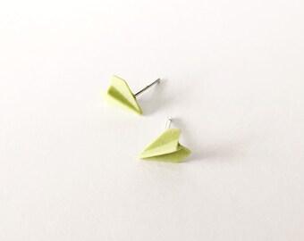 Green Paper Plane Earrings - Ceramic earrings - Post earrings - Stud earrings - Green earrings - Paper Airplane - Plane Studs