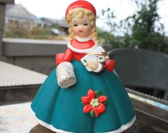 Vintage Christmas Girl Lady Shopper Planter Inarco E-1134 Japan Vase Figurines Decorations Collectibles Muff Gift Poinsettia