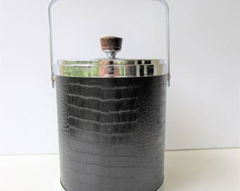 Mid Century Barware - Kromex Faux Crocodile Ice Bucket - Black Faux Crocodile - Chrome - Wood Accents - Mid Century Mod -