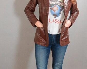 Beautiful Etienne Aigner 70s Leather Blazer// Designer 70s Leather Jacket// Oxblood Leather Blazer