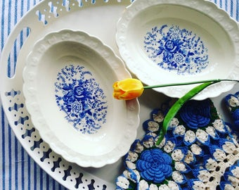 Vintage Set of 2 (Two) Transferware Serving/Vegetable Bowls Taylor Smith & Taylor