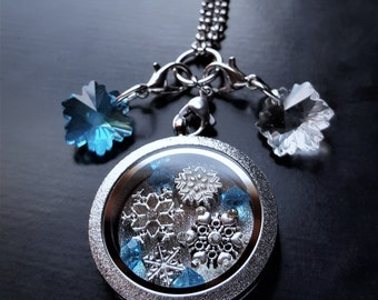 Snowflake Floating Locket Necklace-Great Gift Idea