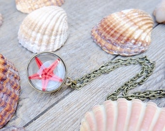 Ocean necklace, gift for woman, mermaid necklace, terrarium necklace, inspirational gift, star necklace, nature jewelry, beach necklace
