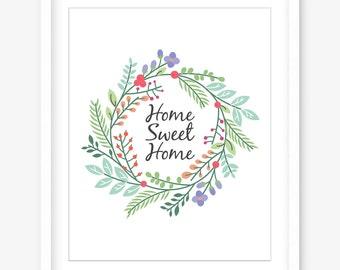 Home sweet home printable wall art - printable home quote - quote printable wall decor - floral wreath - home art print - DIGITAL DOWNLOAD