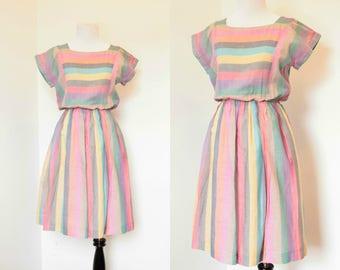 Vintage 1950's 1960's Pink Stripe Dress// Full Skirt Short Sleeve Summer Dress// Pink, Blue, Yellow Dress with Full Skirt