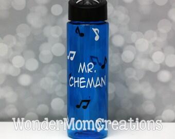 Music Teacher Water Bottle, Musician Water Bottle, Orchestra Conductor Water Bottle, Piano Teacher Water Bottle; Musical Notes Water Bottle