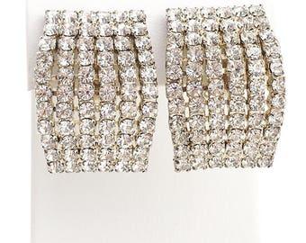 Big Glam Vintage 80s Crystal Rhinestone Earrings