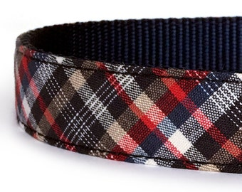 4th of July Dog Collar in in Red, White and Blue Plaid -  Patriotic Dog Collar - Preppy Dog Collar - Tartan Dog Collar - Puppy Collar