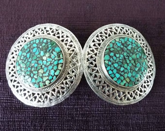 Vintage 1930's Metal & Turquoise Chips Belt Buckle Art Deco Hand Made Hammered Metal Mexico Taxco Ethnic Navajo Concho
