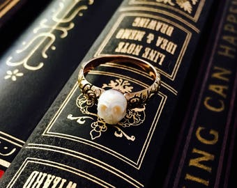 CUSTOM MADE hand carved pearl skull and gold floral shank statement ring, solid 14k gold memento mori Georgian Victorian style goth ring