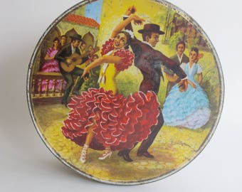 Vintage large round biscuit tin. Spanish Flamenco dancers.