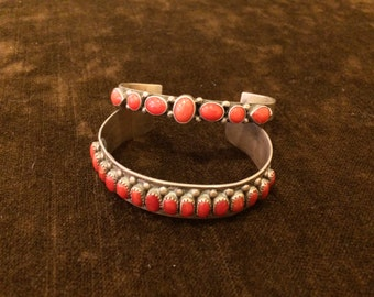 Vintage Mediterranean coral Native American Indian cuff bracelet sterling silver 925