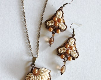 "Set ""Automn Ode"" bronze and glass pearls Art Nouveau style"