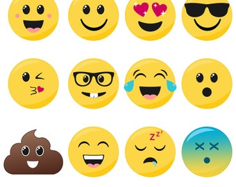 80% OFF SALE Emoji Clipart, Smiley Face Clipart, Faces, Printable, Commercial Use