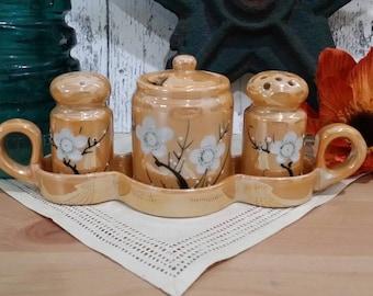 Peach Orange Lustreware Lusterware Cherry Blossom Condiment Set Salt Pepper Mustard Jar Tray