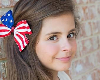 Patriotic Hair Bow, American Flag Pinwheel Hair Bow, American Flag Bow, 4th of July Hair Bow, July 4th Bow, Pinwheel Hair Bow
