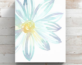 Blue Watercolor Flower Canvas Print from original painting by Angela Weber - Blue & Purple Flower - Wrapped Canvas Print