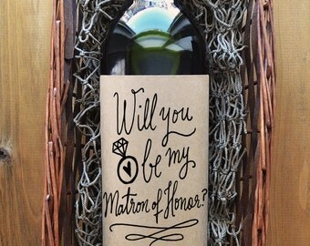 Matron of Honor Wine Label - Will you be my Matron of Honor Wine Label - Kraft