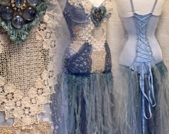 Boho wedding dress blue,bridal gown blue,fairy  wedding dress,tattered wedding dress,bohemian dress,mermaid dress, mermaid wedding dress,raw