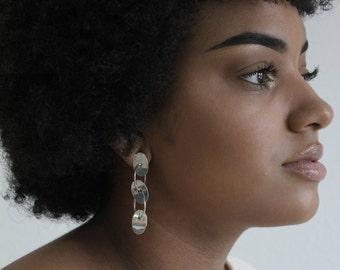 Sterling Silver Geometric Dangle Earrings - Vintage