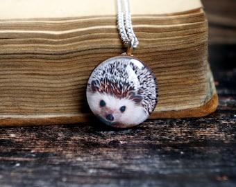 Hedgehog necklace ,hedgehog gift ideas ,  forest necklace , forest lover gift , woodland necklace
