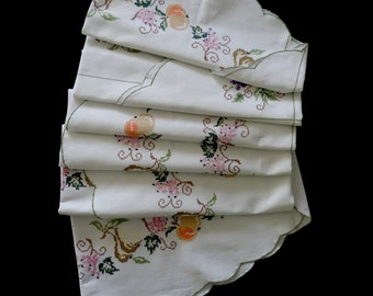 SALE Vintage handmade large round tablecloth - cream tablecloth with cross-stitched fruit apples, pears grapes - 65x64.5 inches / 165x164cm