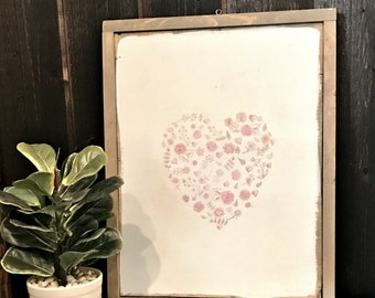 Pink Valentine Floral Heart on Wood Sign - Farmhouse Valentines - Farmhouse Floral Heart - Valentines Wall Art - Valentines Heart Wall Sign