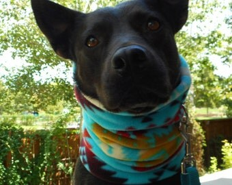 SW dog neckwarmer, Aztec snood neck warmer gaiter scarf; Southwest Colorado tribal scarves; Wear w/ or w/out pet jacket