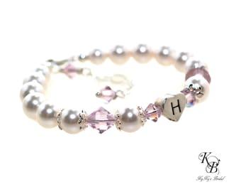 Heart Bracelet Baby Girl Bracelet Baby Jewelry Birthstone Bracelet Personalized Baby Bracelet Little Girls Gifts Newborn Baby Bracelet Girls