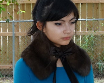 """New handmade brown sable fur, collar, double sided fur, 22"""" recycled fur, real, satin straps, timeless,  gift idea"""