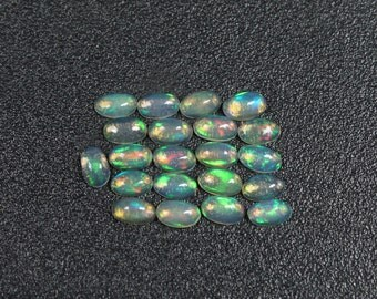 21 Pieces Of Natural ETHIOPIAN OPAL  - 3x5 mm Size - Oval Shape Gemstone - Smooth Cabochon - Welo Opal - High Quality Opal