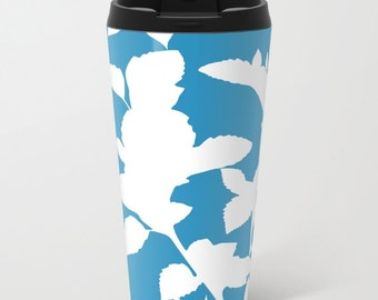 Botanical Metal Travel Mug - Blue Stainless Steel Travel Mug With Lid - Gift For Women - Aldari Home