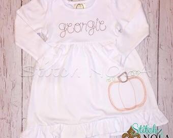SHIPS FAST!!  Vintage Pumpkin Shirt, Romper, Dress or Bodysuit