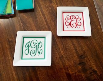 Monogram Jewelry Dish - Custom Jewelry Holder - Initialed Jewelry Plate - Custom Monogrammed Ring Dish