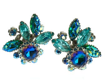 Judy Lee Blue Rhinestone Earrings