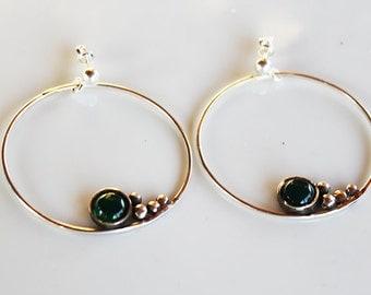 Handmade sterling silver earrings ,unique earrings,semi precious stone earrings,drop earrings,large  hoop earrings