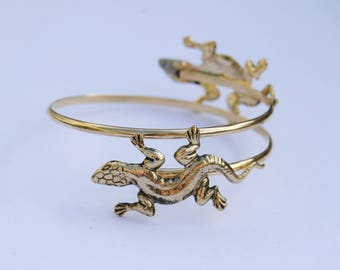 1970's Lizard Arm Cuff // Gold Plated Bangle // Made in England // Unusual Vintage Jewellery