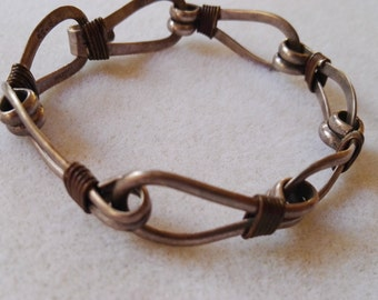 Vintage metal bracelet wire wrapped solid metal