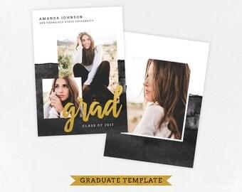 Senior Graduation Announcement Template for Photographers PSD Flat card - Graduation Template - Photography Template  G046