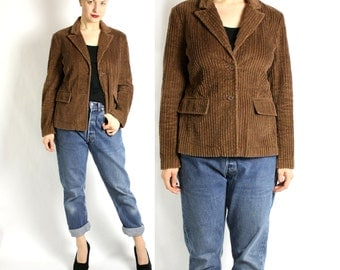 Vintage 80's 90's Brown Corduroy Fitted Jacket Blazer