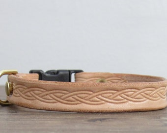 Purrfect Leather Cat Collar - Celtic Weave Pattern - Breakaway Safety Leather Cat Collar - Brass