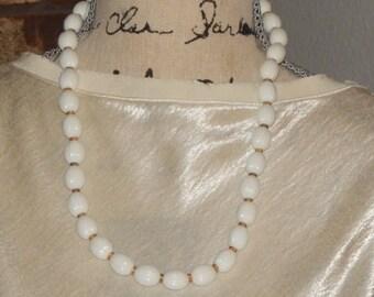 Vintage Crown Trifari White Bead Necklace Detailed White Bead Gold Tone  Necklace Signed Trifari