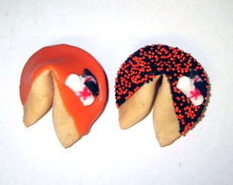100 GRADUATION Orange & Black Fortune Cookies, Achievement, Cap and Scroll, Congratulations Gift