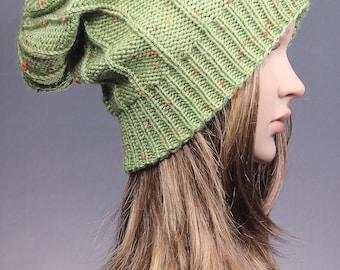Slouchy knit hat, knit hat, womens hat, winter Hat, slouchy hat,chunky knit hat, chunky hat, fall knit hat, Slouchy Beanie, green knit hat