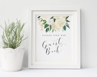 Printable wedding guest book sign, Wedding guest book, white  and cream roses guest book printable, Instant download, The Asli collection