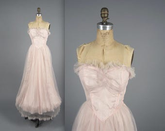Vintage 1950s dress // 50s pink tulle prom dress