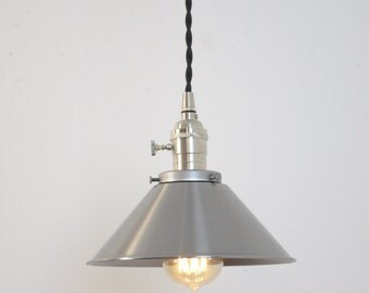 Unfinished Steel Cone Shade Brushed Nickel Industrial Pendant Light Fixture Rustic Plug In