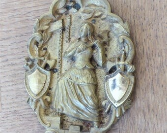 Antique French Brass Plaque.  Heraldic  Medieval Image